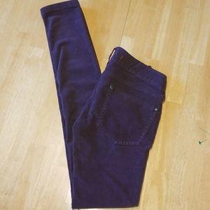 Free People womens plum corduroy skinny jeans
